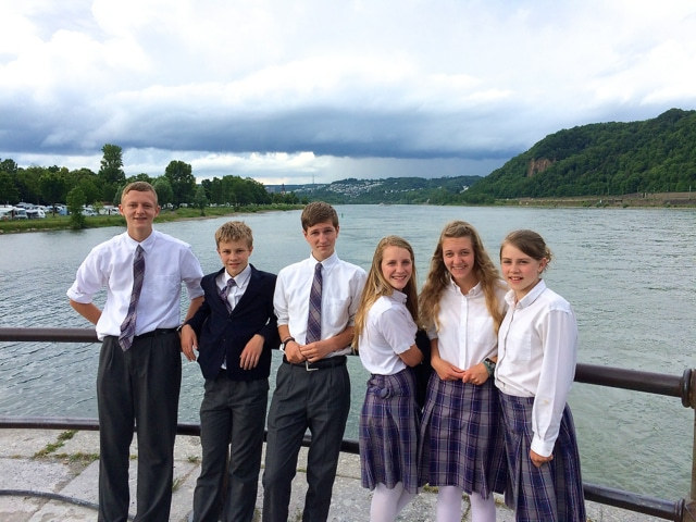 Students on the Rhine River in Koblenz, Germany